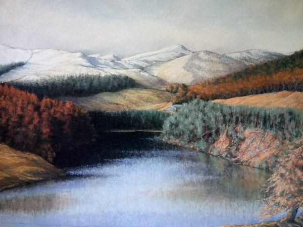 The Backwater, Glen Isla, Tania J. Meikle, Pierre Noire and pastel on ink wash : 76cm x 94cm.