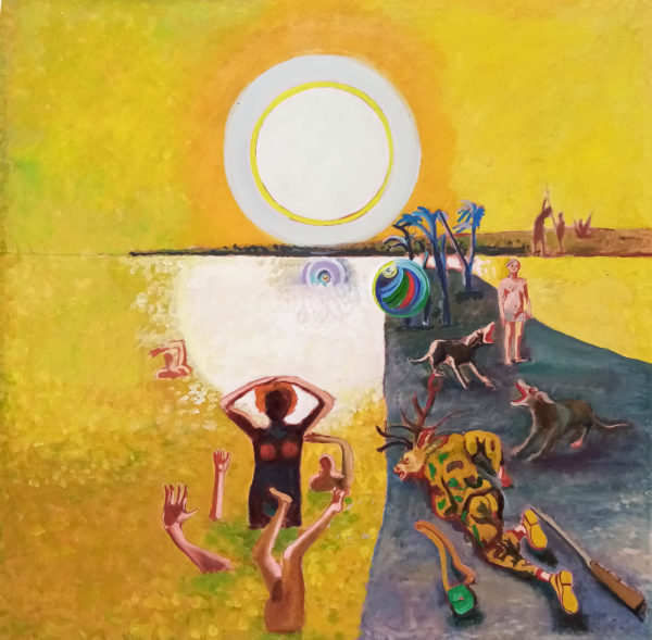 Diane and Actaeon, Colin MacLeod, #215: tempera and oil on canvas, 105x105cm