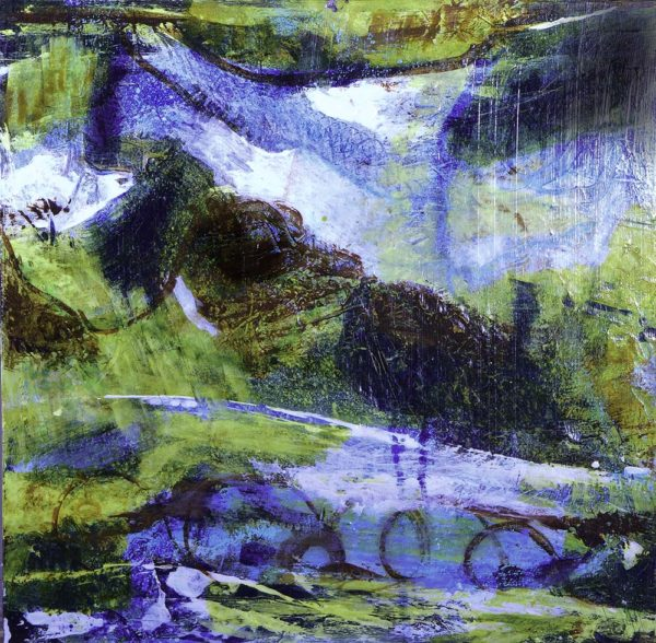 Drovers Trails Through Hills and Dales, Aileen Wrennall, #380:  mixed media, 40x40cm