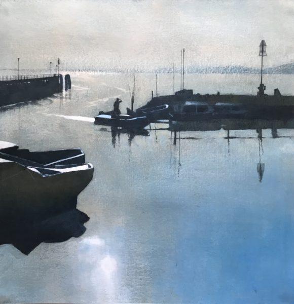 Torricella Lake Trasimeno, Peter Nardini, #271:  acrylic, 58x58cm, framed
