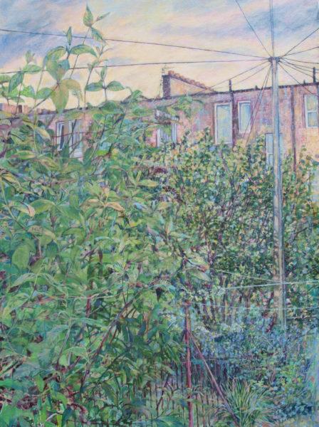 Edinburgh Back Garden, Karen Laird, #192: acrylic on canvas, 71x97cm