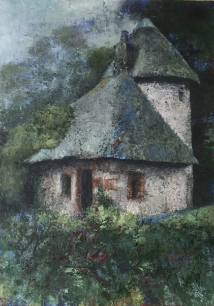 Thatched Cottage Mellerstain, June Bell, #020: oil and wax, 52x73cm