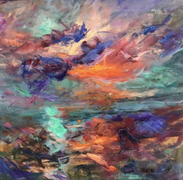Titian Sunset With Cyan Moon, Sandra Ratcliffe, #302:  acrylic, 80x80cm,  unframed painted edge canvas