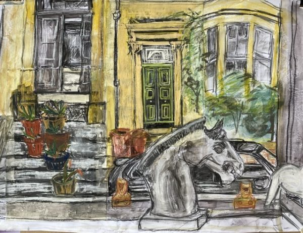 streetscape during lockdown, Susan Torrance, #353:  mixed media on paper, 59.4x84.1cm