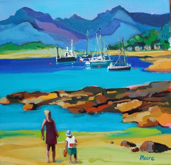 Fantastic day, Millport, Carol Moore, #258:  oil on canvas, 36x36cm