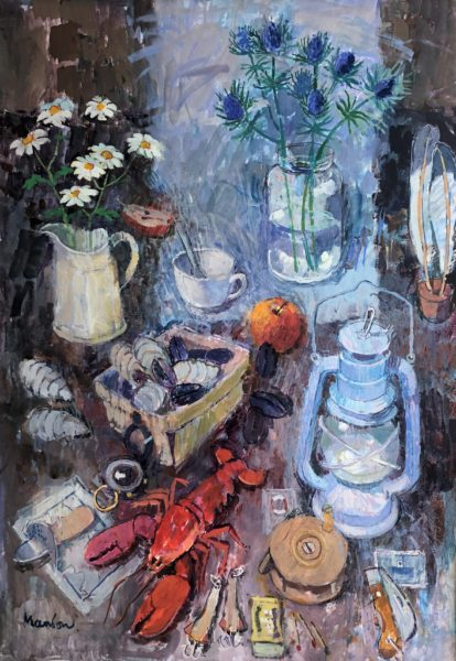 Flowers, Lamp and Lobster, Donald Manson, #222: watercolour and gouache, 89x69cm mounted and framed