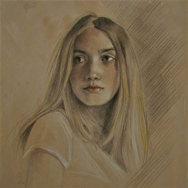 Study of Freya, Virginia Colley, #064: pencil and pastel on card, 38x38cm