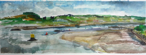From the Bower Battery, Dumbarton Rock, Rowena Comrie, #067: Watercolour, 44x90cm