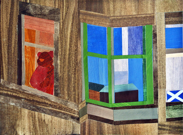The Flat Across the Road with the Giant Teddy Bear and the Saltire, Alastair Strachan, #348:  collage, 22x30cm