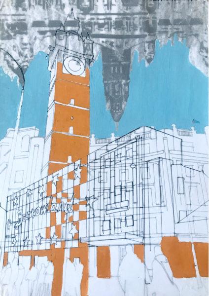 Glasgow City 1, Joanne Gildea, #134: mixed media, 21x29.7cm