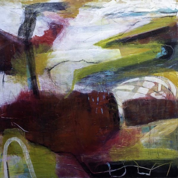 Glimpses From The Past, Aileen Wrennall, #381:  mixed media, 61x61cm