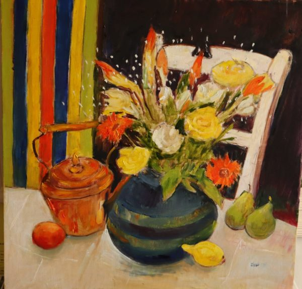 Lilies and Roses, Margaret Duff, #100: oils, 60x60cm