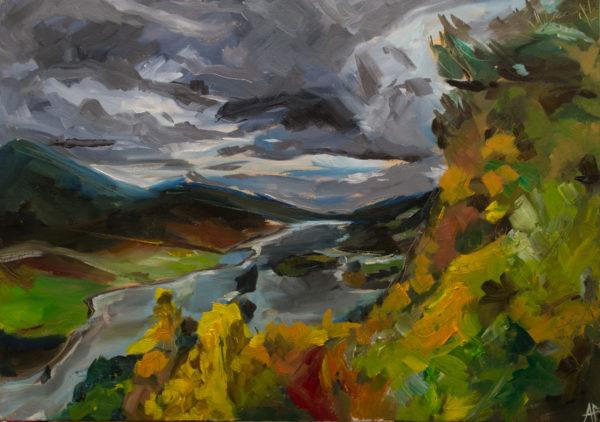 Queen's View, Perthshire, Alastair Faulkner, #112: oil on canvas; 42x60cm