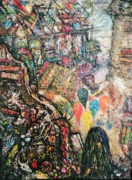 The Last Balloon Seller, Joseph Urie, #356:  oil, 105x79cm