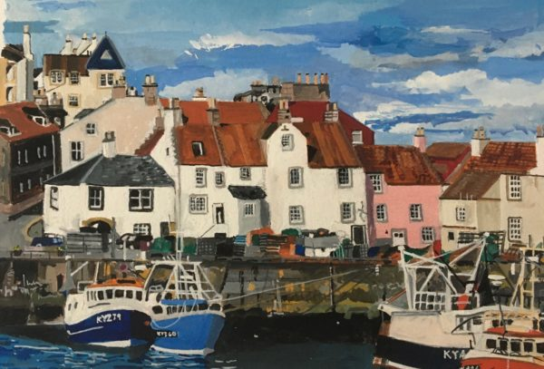Pittenweem Harbour, Fiona Chirnside, #061:  gouache on card, 19x12.7cm