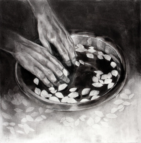 I immerse my hands in my fallen memories, Zuzanna Salamon, #320:  charcoal on paper, 35x35cm
