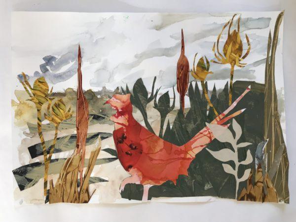 undergrowth, Julie McLaren, #245: collage, ink, watercolour paint, paste paper on watercolour paper and card, 59x42cm