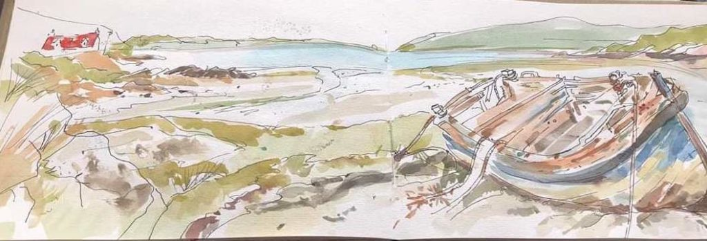 Sketch from the Bay at Crannag Cottage Isle of Barra
