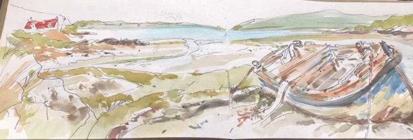Sketch from the Bay at Crannag Cottage Isle of Barra, Irene Walker