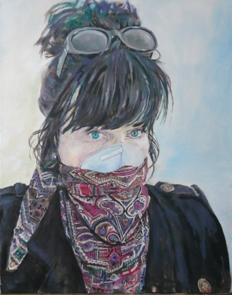 Joan in a mask, John Andrew, #008:  oil on canvas, 40x50cm