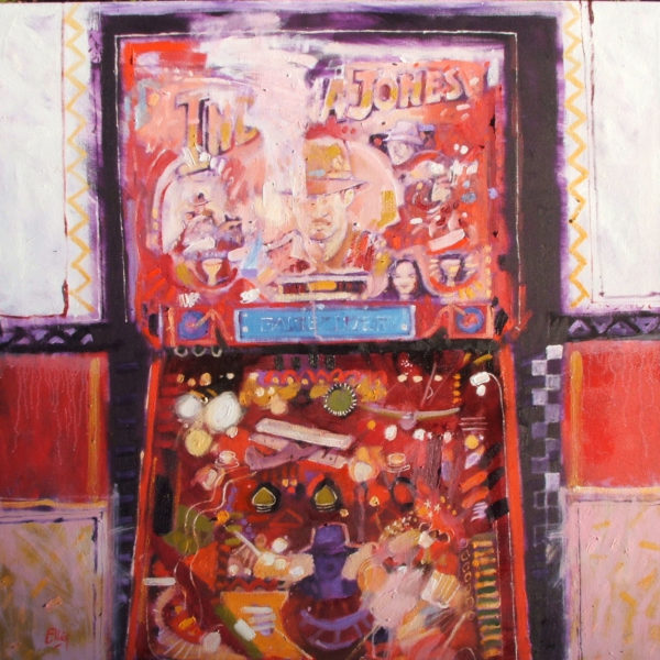 Pinball Jones Seattle, Ian Elliot, #107: oil on canvas, 90x90cm