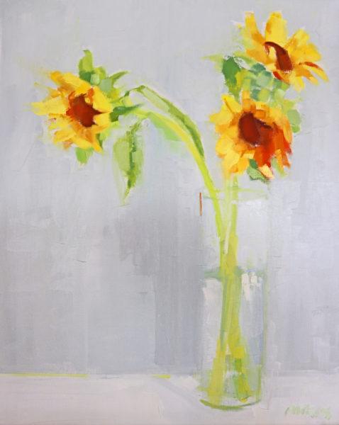 Leonine Sunflowers, Pauline Patrick, #288: oil on linen, 40x50cm