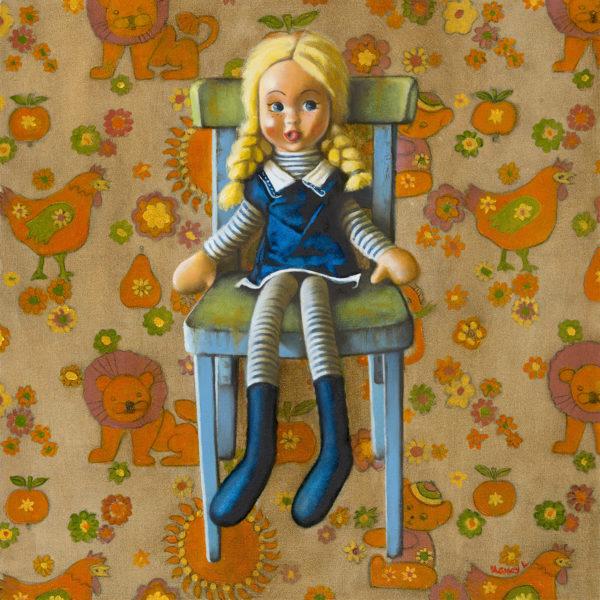 Looby Loo in the Corner, Nancy Littlejohn, #200: oil on board, 50x50cm, unframed