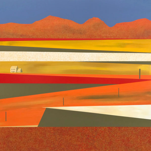 Eildons from Dalcove, Makerstoun, Jill Macleod, #213: acrylic on board, 60x60cm