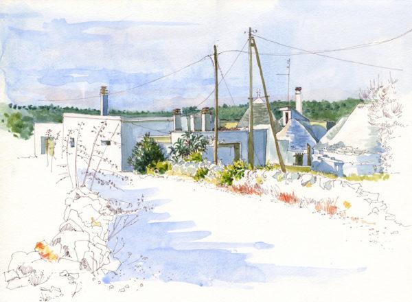 Near Cisternino, Puglia, Carol Scouller, #327:  watercolour, 28x38cm