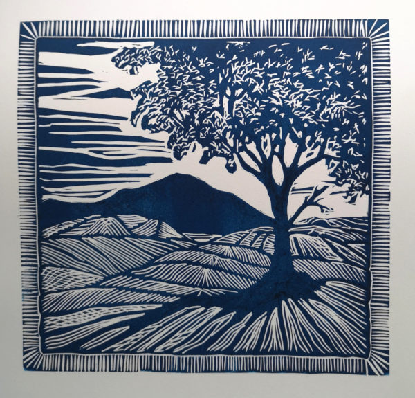 New Horizon, Allan Richardson, #309:  linocut, 33x33cm, mounted