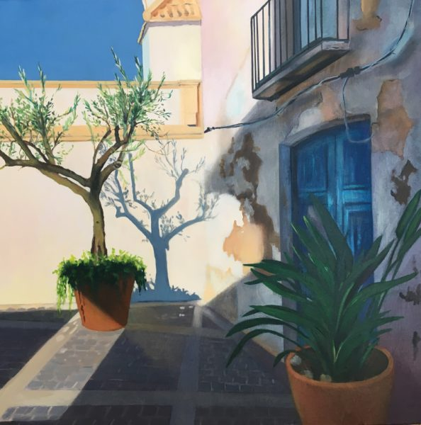 Olive Tree Shadows, Lesley Banks, #015: oil on deep edge linen, 40x40cm