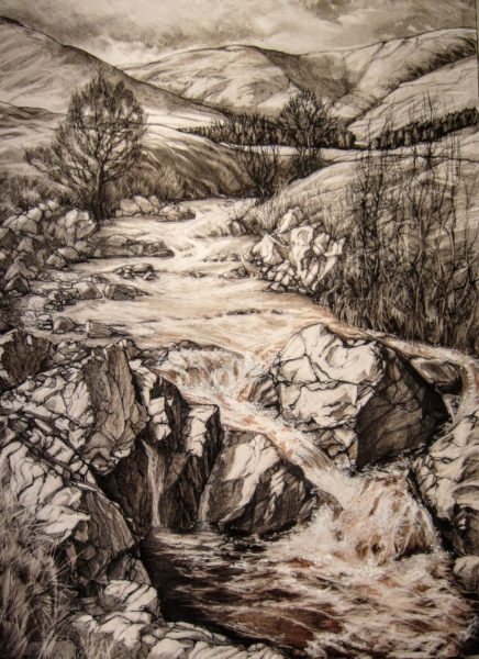 The Westwater, Glen Lethnot, Angus, Tania J. Meikle, charcoal, pierre noire and pastel : 92cm x 74cm.