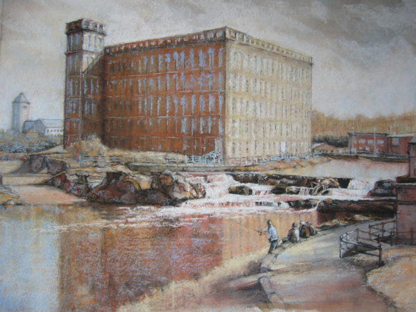 The Anchor Mill, Paisley, Tania J. Meikle, Pierre noire and Pastel on ink wash, on : 64cm x 74cm.