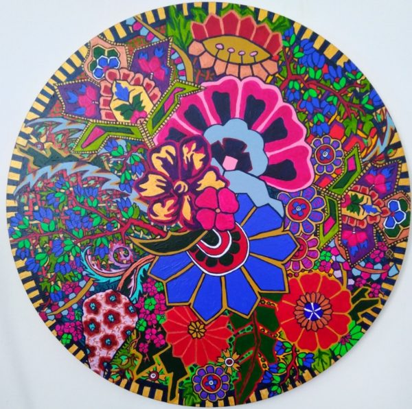 Paisley Flowers Unbound, Lil Brookes, #039: acrylic, circular frame 46cm