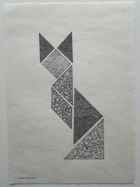 The Cat, Rhona Fairgrieve, #110: original ink drawing on paper, 30x21cm, unframed