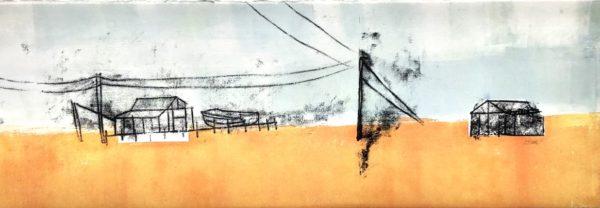 Shingle Shacks, Lynda Wilson, #374:  monoprint, 19x56cm