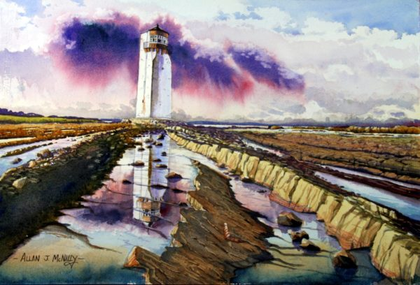 Tideout Southerness Lighthouse, Allan McNally, #248:  watercolour, 38x56cm