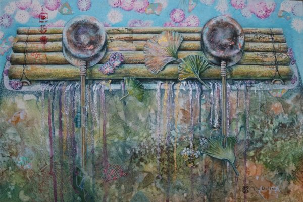 Spring Water Station, Liz Dulley, #101: watercolour with Japanese paper, 49x66cm