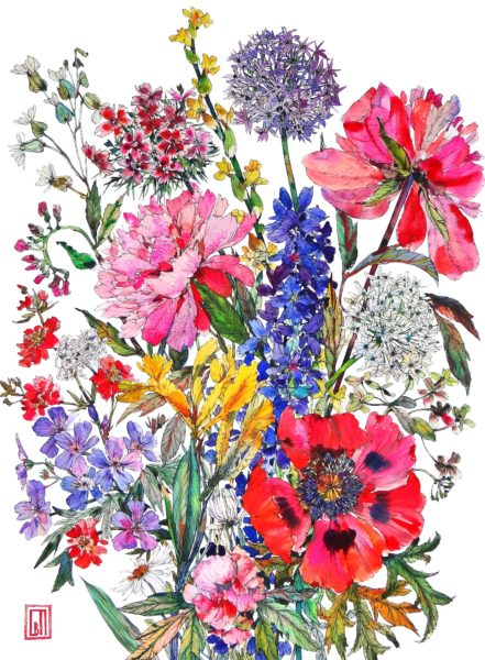 Summer Bunch, Sofia Perina-Miller, #290:  watercolour and pen, size 75x56cm