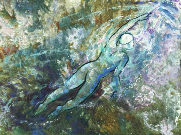 Wild Swimmer, Libby Anderson, #006: mixed media, 50x38cm,