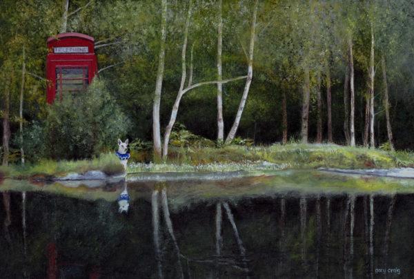 Telephone Box in the Landscape 3, Gary Craig, #079: oil, 40x30cm