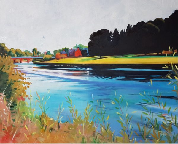 The River Nith, Dumfries, Gillian Greer Park, #283: oil on canvas Board, 42x59cm