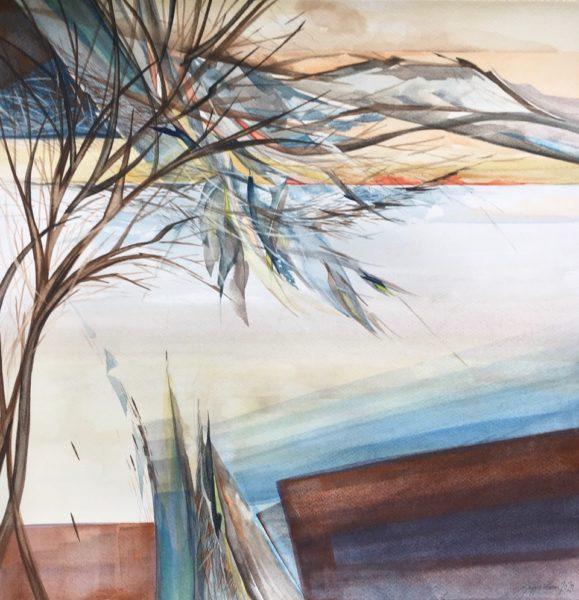 Trees on Loch Lomond, Maggie Wilson, #372:  watercolour, 50x50cm