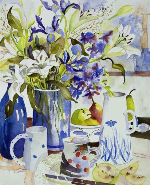 Fresh Fruit and Flowers, Aileen Wrennall, Watercolour