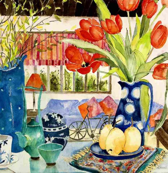 Tulips and Pears on a Glass Table, Aileen Wrennall, Watercolour