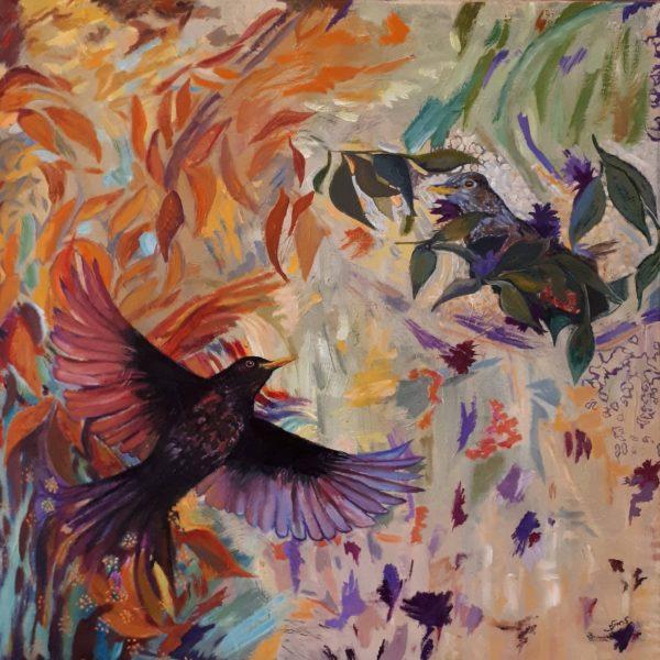 I am not a Blackbird - I am a Phoenix, Susan Smith, #332:  oil painting, 50x50cm