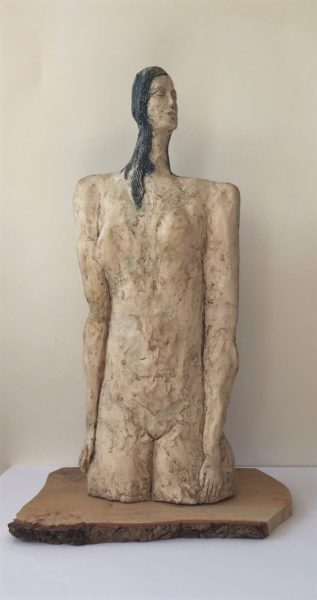 Dante Figure, Richie Cameron, #049: ceramic on timber, 44x16x10cm