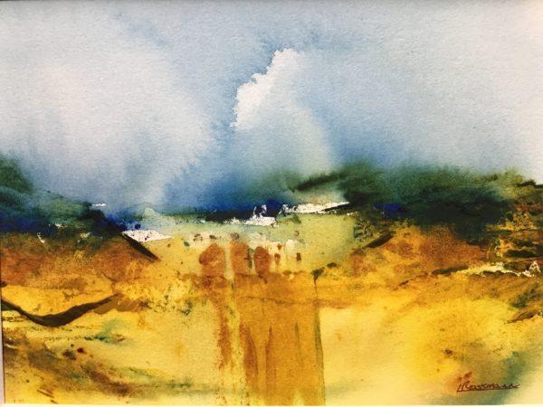 Yellow field, Lynda Rossmann, #317:  watercolour, 37x31cm, framed