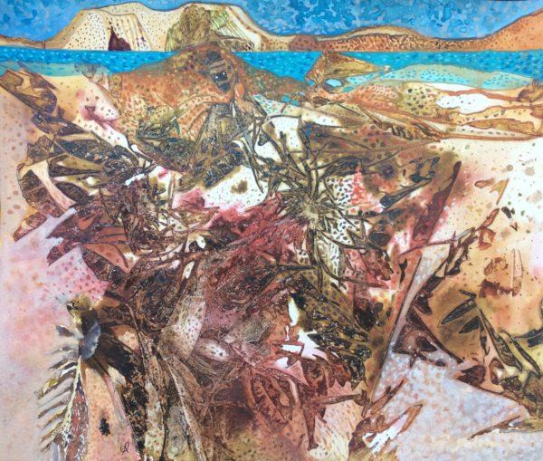 Iona seashore, Gwen Fleming, #116: watercolour and gouache on paper,28x33cm, unframed