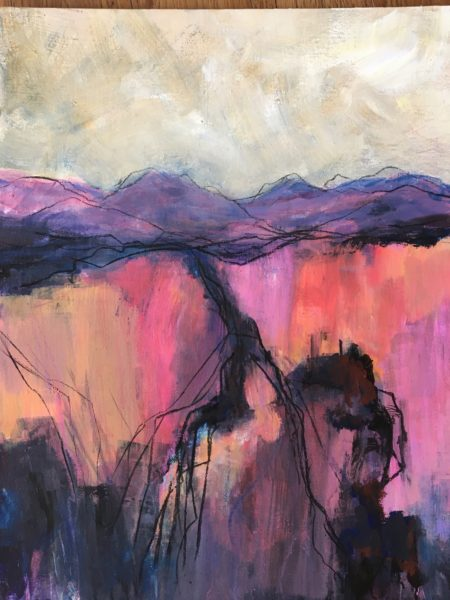 Evening Red, Helen Young, #384:  acrylic on board, 60x76cm